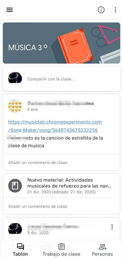 Material dentro de cada clase de Google Claasroom