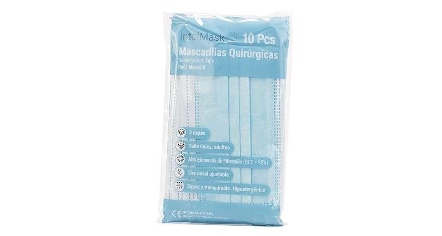 6- Intelmask: Mascarilla quirúrgica desechable (10 ud)