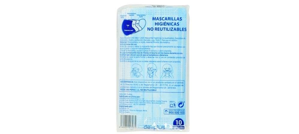 1- Deliplus (Mercadona): Mascarillas higiénicas no reutilizables (10 ud)