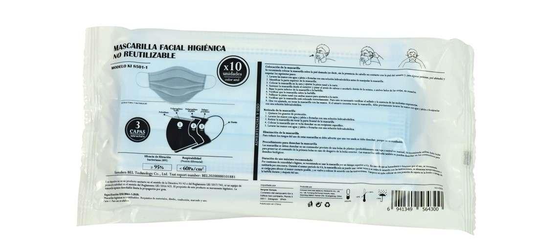 3- Bergner (Carrefour): Mascarilla facial higiénica no reutilizable KI 8501-1 (10ud)